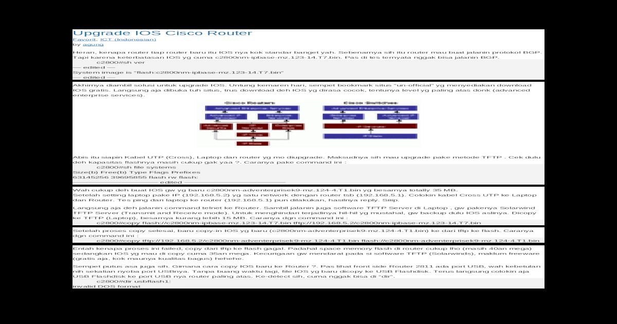 Upgrade IOS Cisco Router