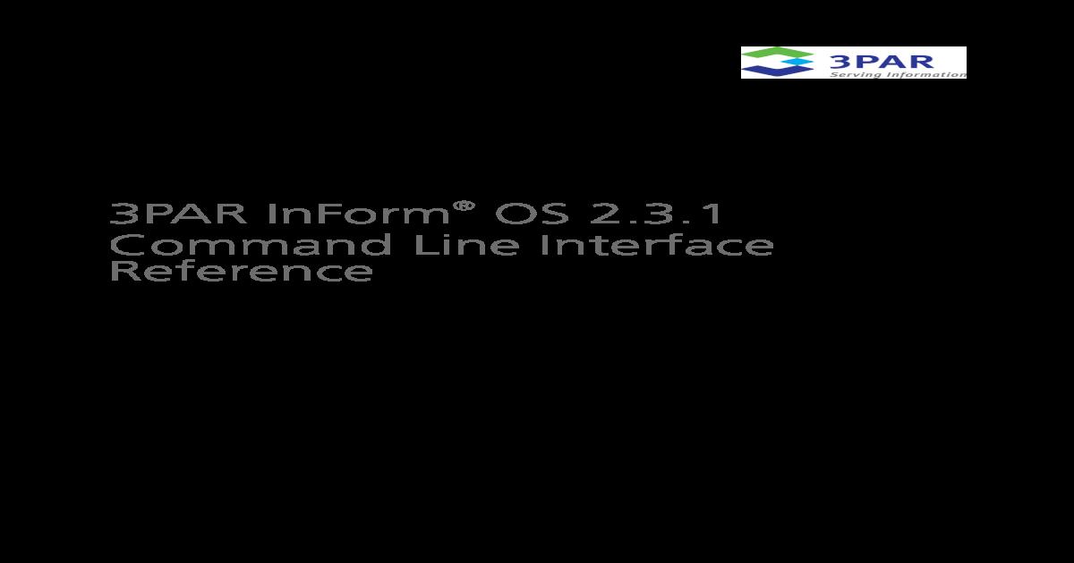 3PAR InForm OS 2 3 1 CLI Guide