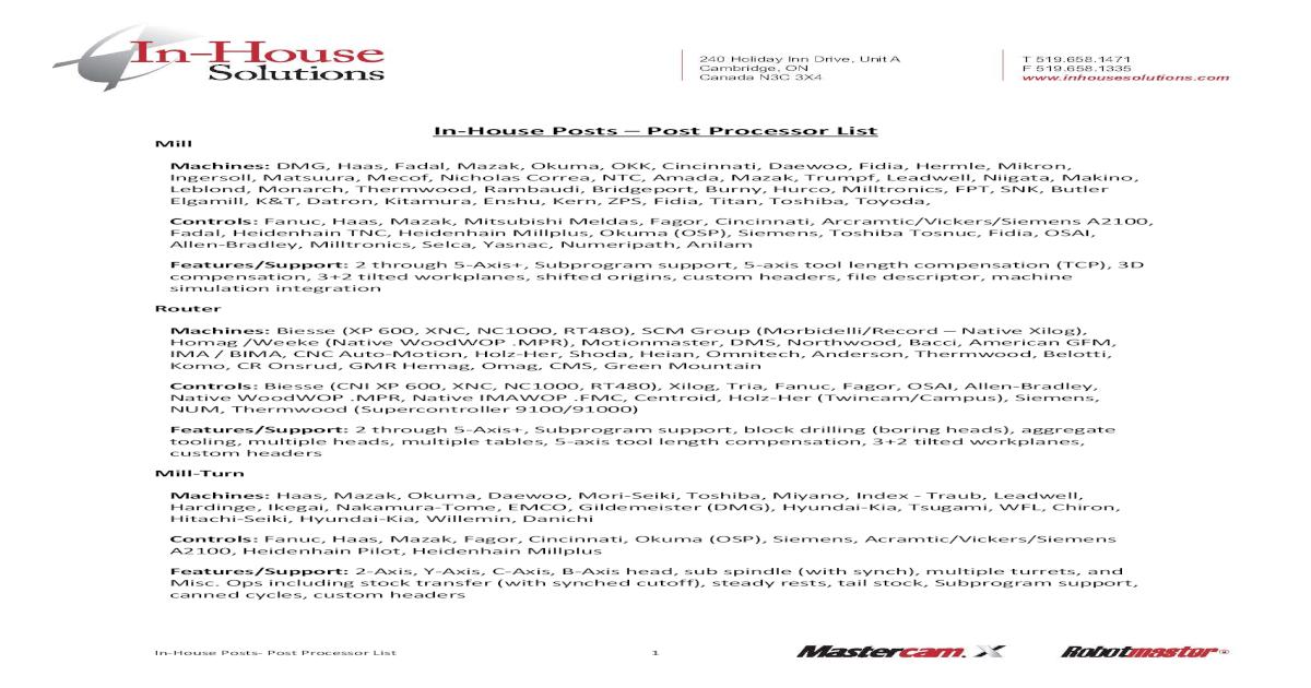 Post Processor List