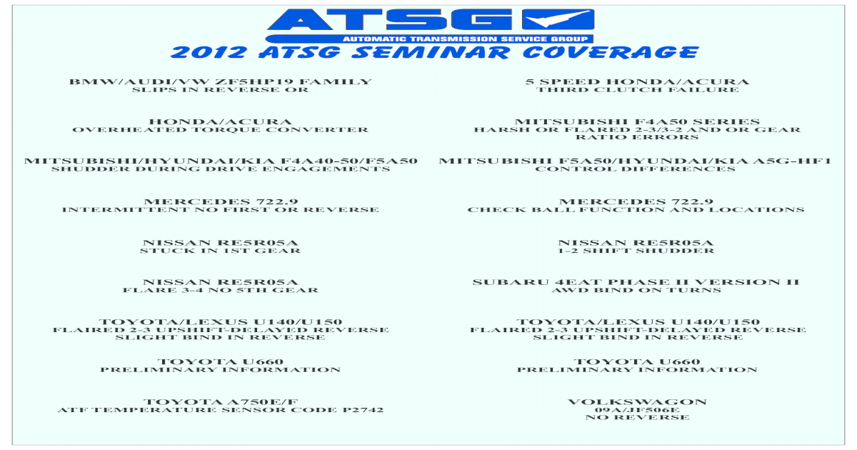2012 Atsg Seminar Info