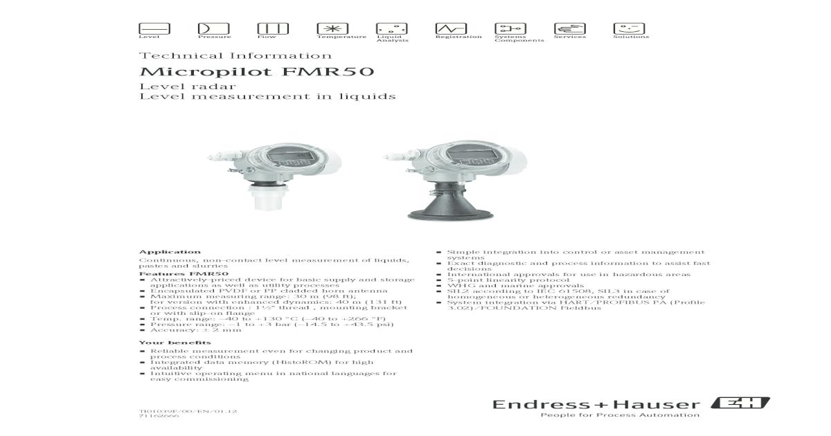 Endress + Hauser TI01039FEN_0112 pdf