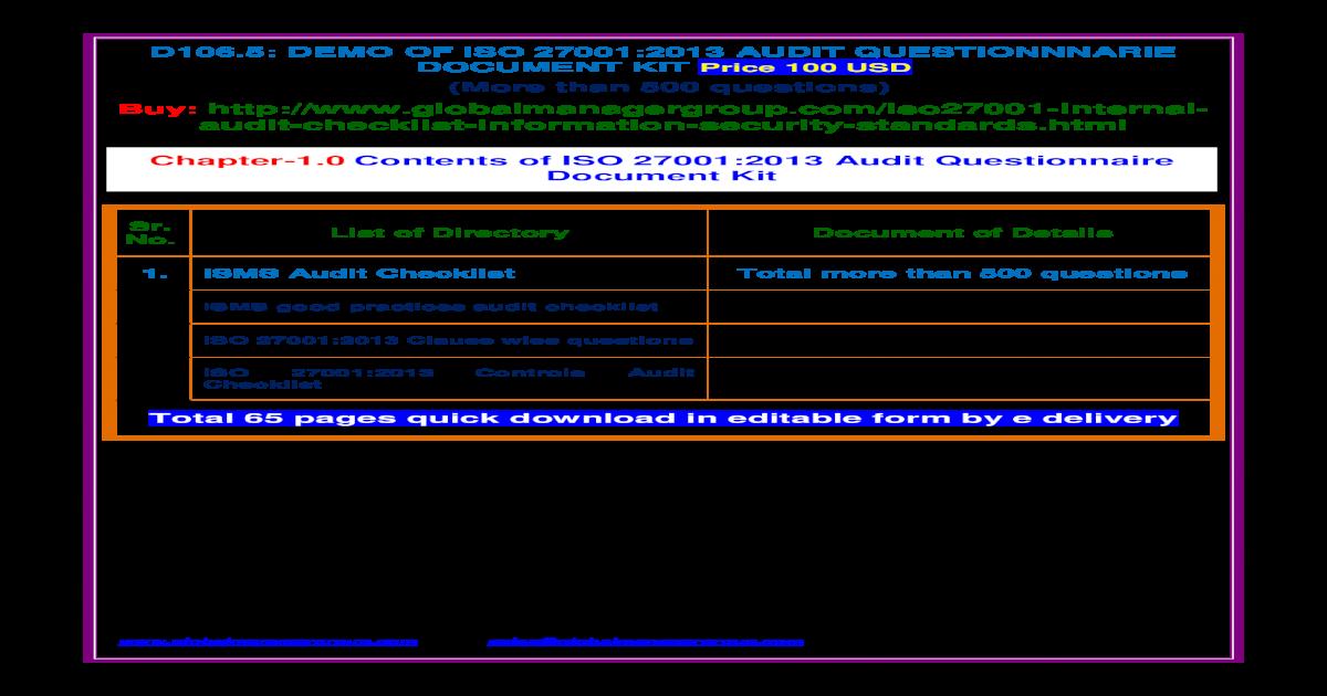 ISO 27001:2013 Audit Checklist