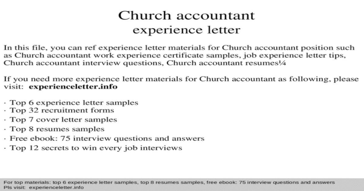 Church accountant experience letter