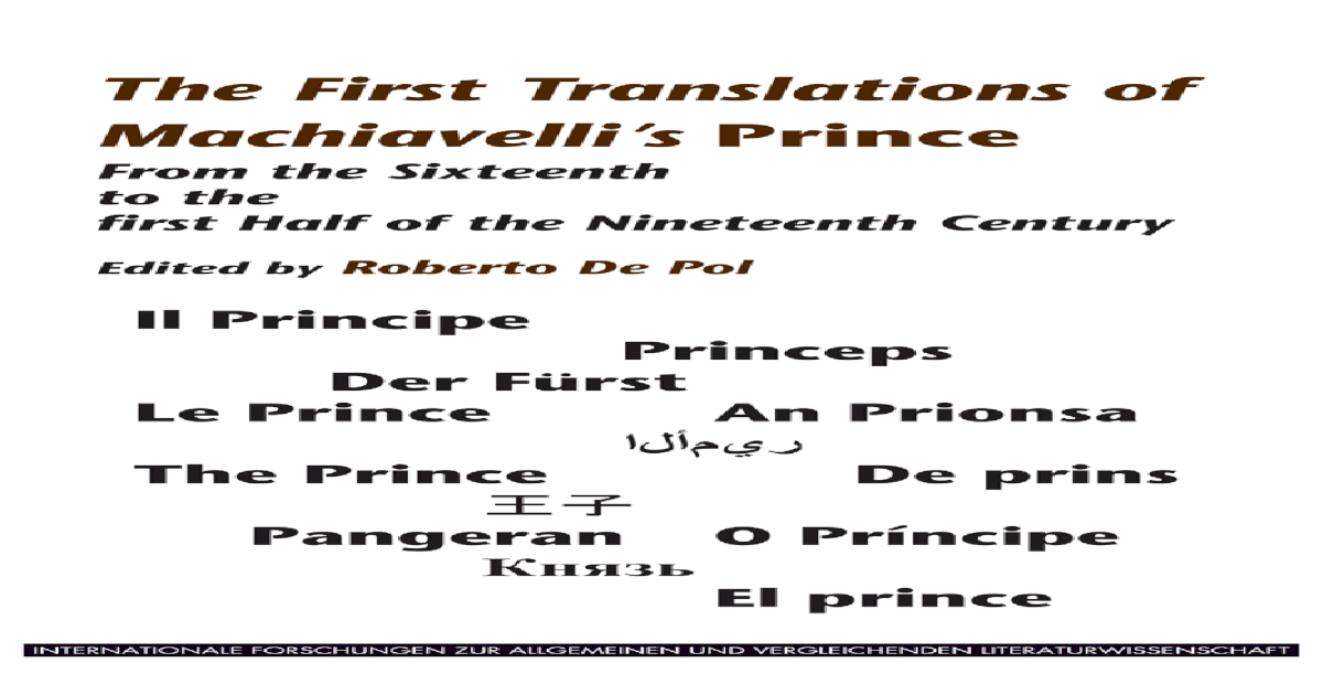 The First Translations Of Machiavellis From The Sixteenth
