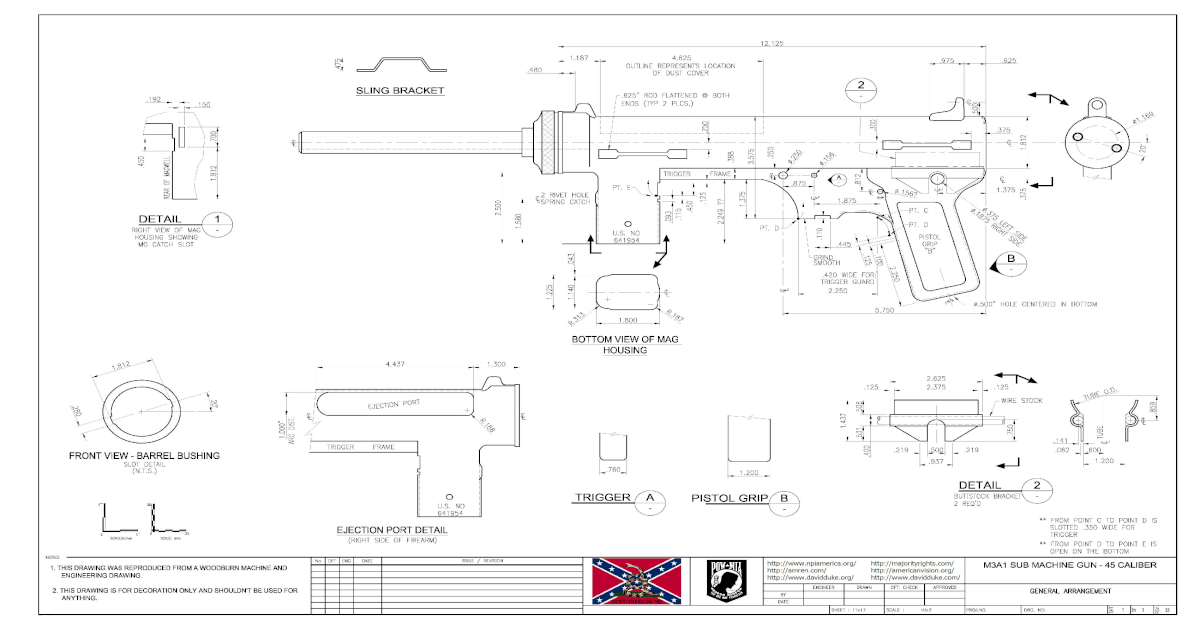 M3A1 Submachine Gun Blueprint