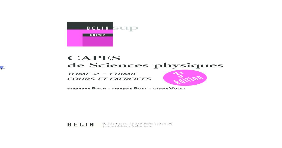 Tome 2 Chimie Capes De Sciences Physiques Cours Et Exercices