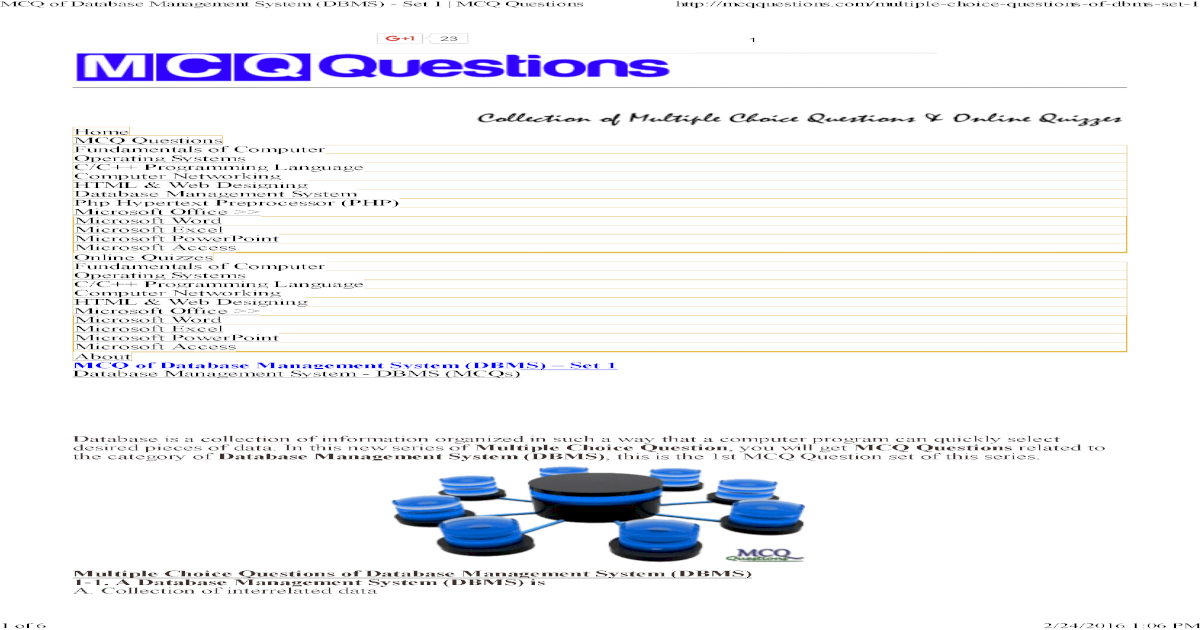 MCQ of Database Management System (DBMS) - Set 1 _ MCQ Questions