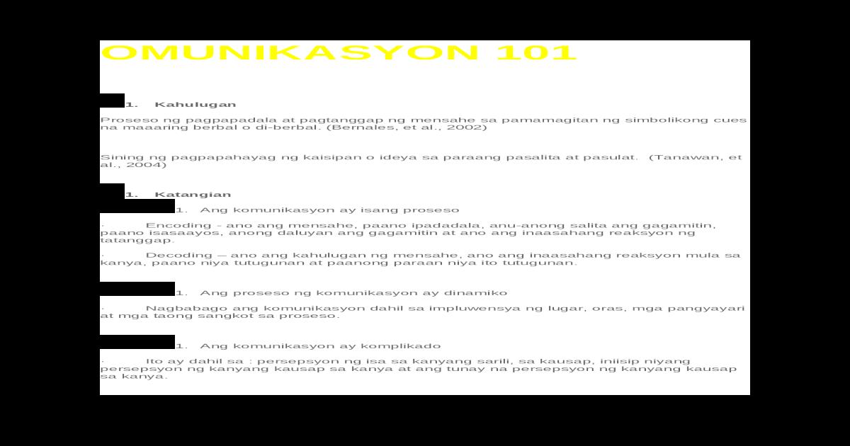 Omunikasyon 101 Doc Si jehova —ang sukdulang halimbawa ng kabutihan. omunikasyon 101 doc