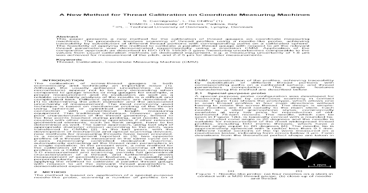 A New Method for Thread Calibration on Coordinate Measuring