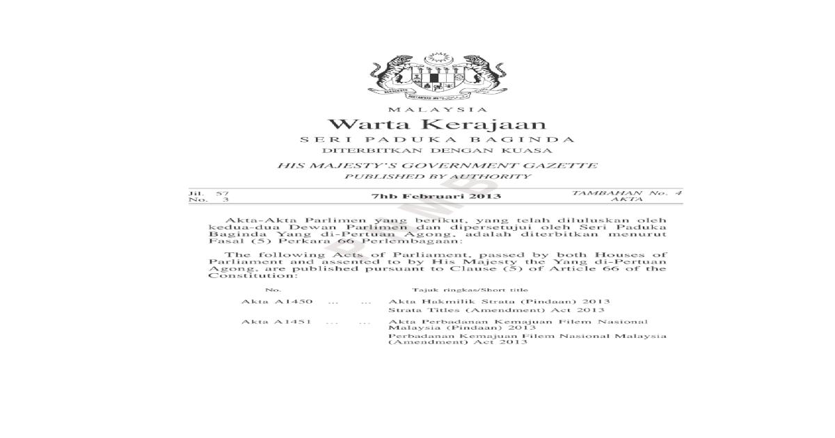 Akta A1450 Hak Milik Strata