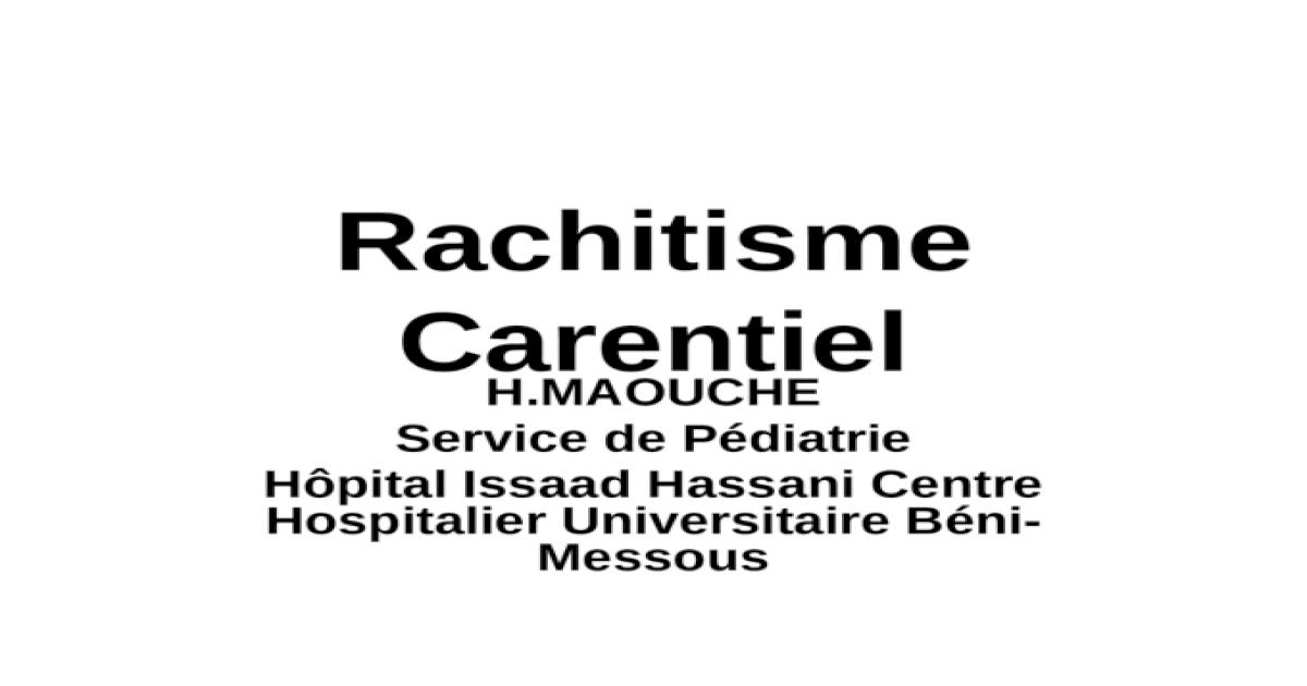Bjaia Rachitisme Carentiel (Cours S5)