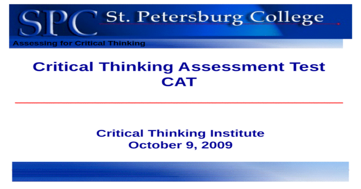 assessing critical thinking