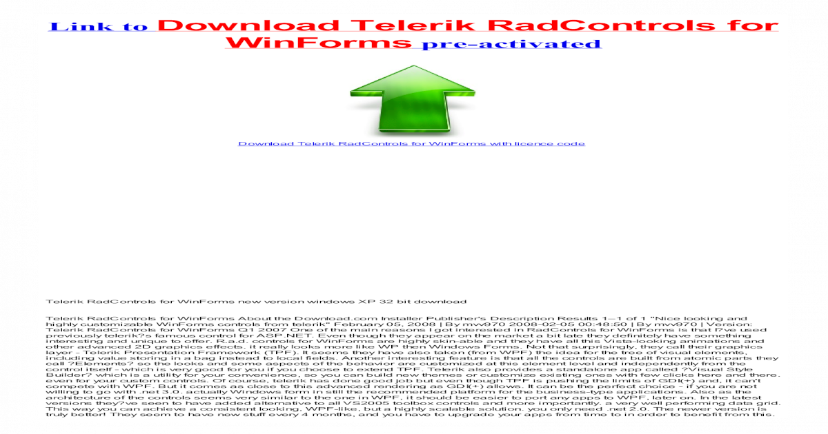 Telerik RadControls for WinForms keygen