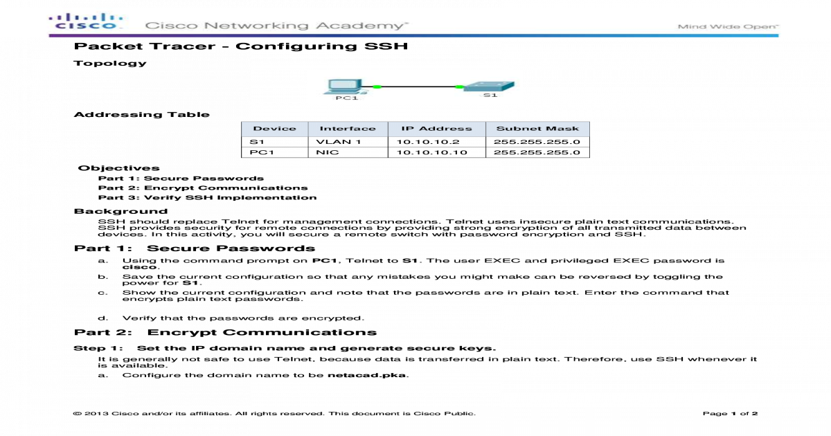 2 2 1 4 Packet Tracer - Configuring SSH Instruction