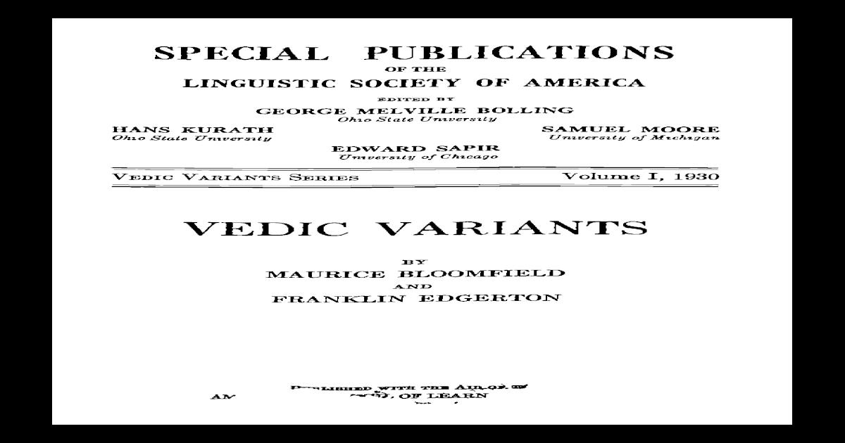 Bloomfield, Edgerton - Vedic Variants 01 (Verbs)