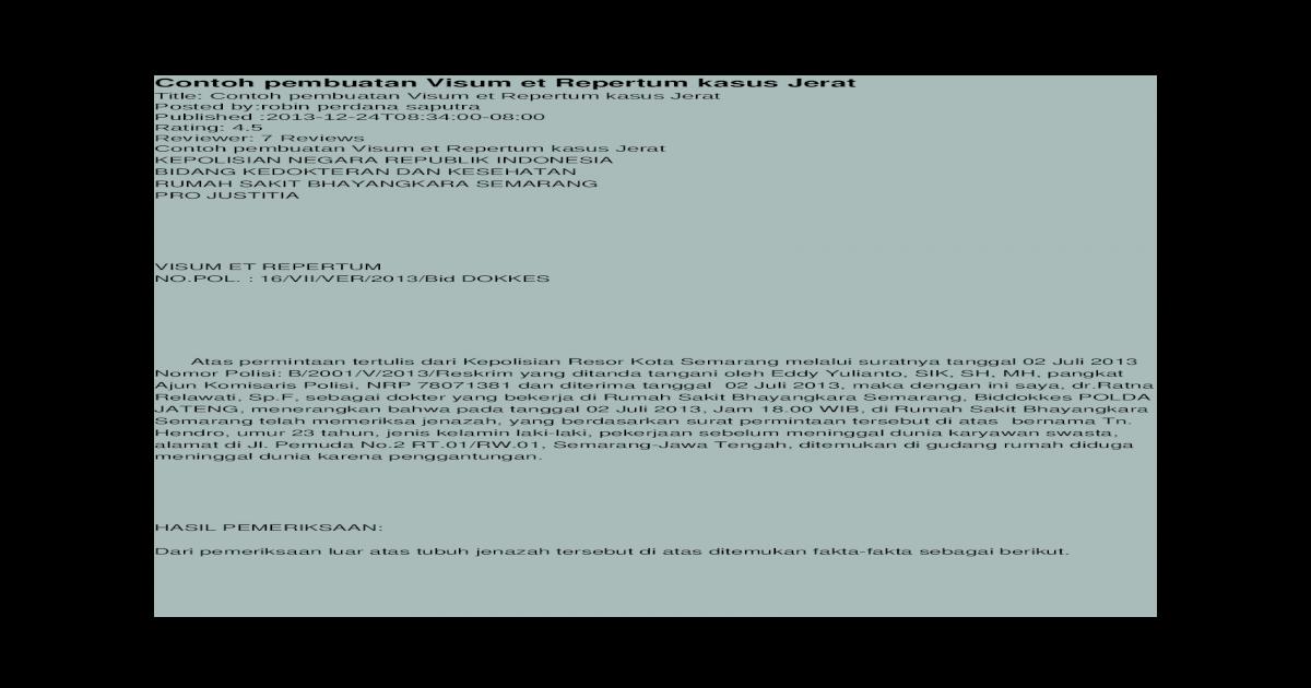 Contoh Pembuatan Visum Et Repertum Kasus Jeratdocx