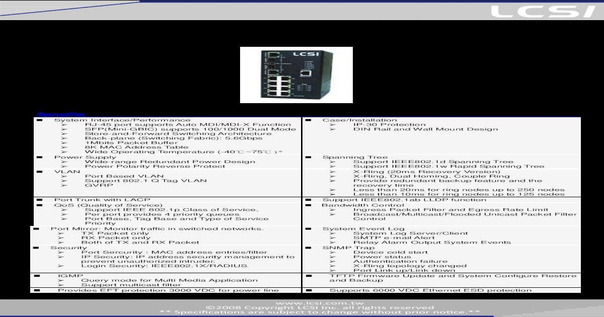 Switch LCSI modelo: IES-m082c