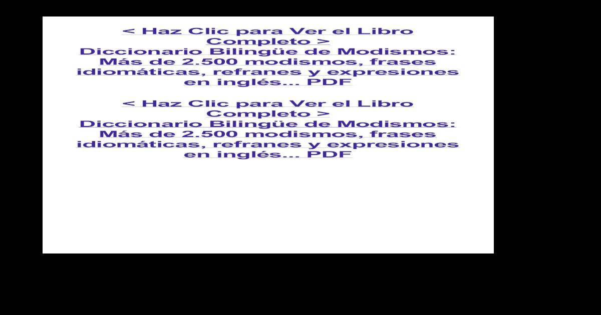 Diccionario Bilinge De Modismos Ms De 2500 Modismos