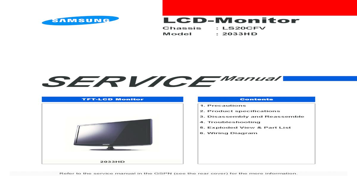 Samsung 2033hd Chassis Ls20cfvkfen Sm