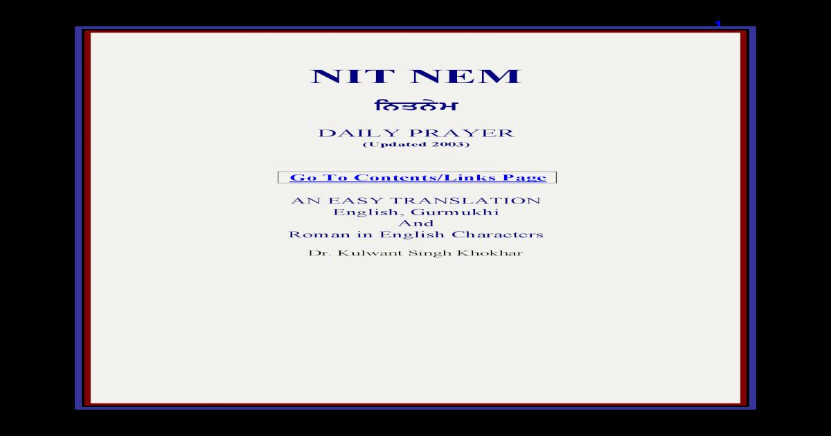 Nitnem by Dr  Kulwant Singh, With Punjabi & Eng Transla & PT
