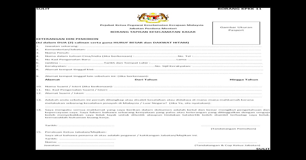 Borang Kpkk11 Tapisan Keselamatan