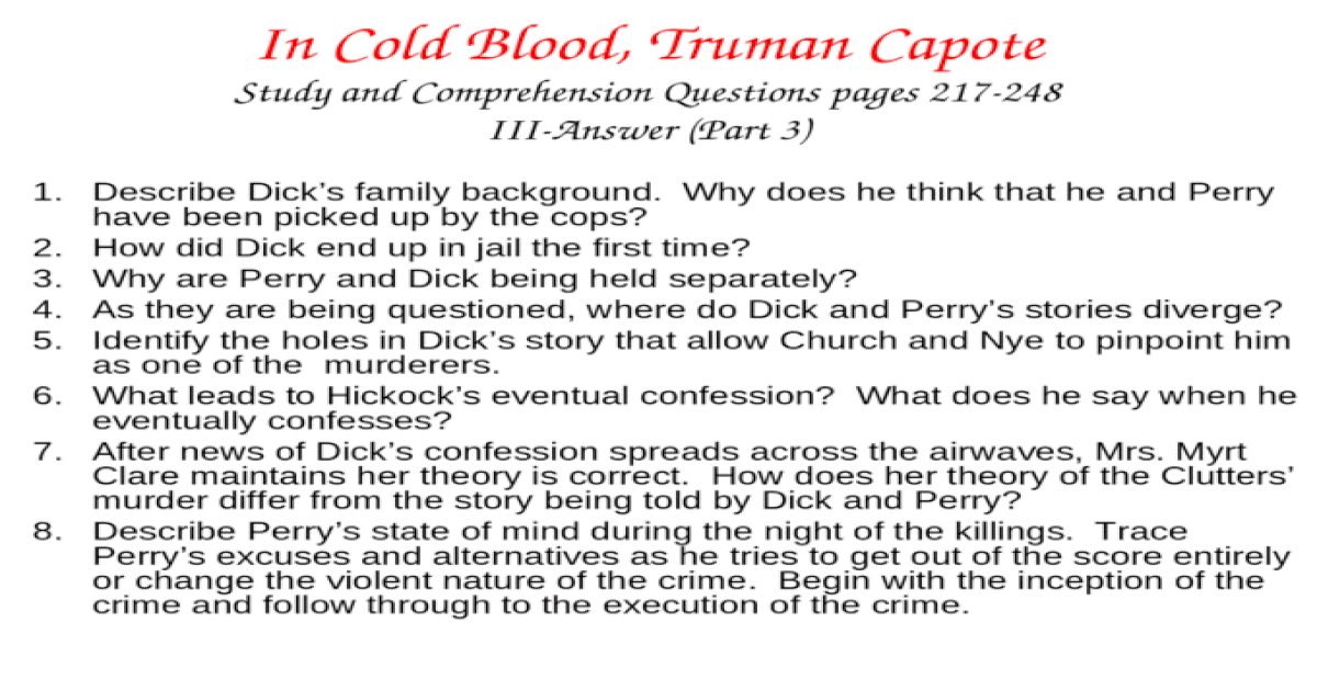in cold blood discussion questions and answers