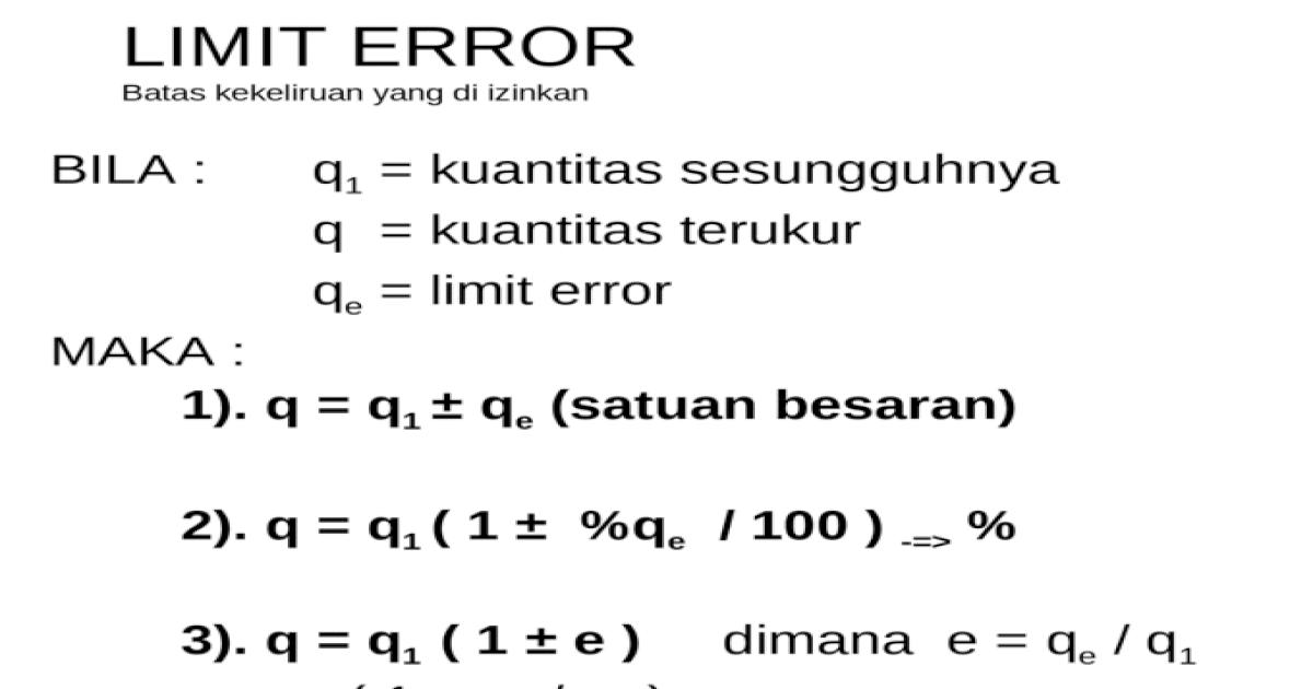 Limit Error Batas Kekeliruan Yang Di Izinkan