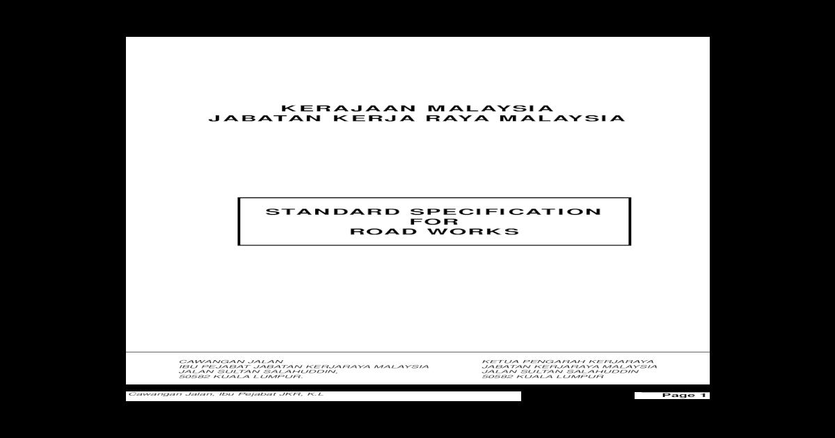 Standard Specification Jkr Road