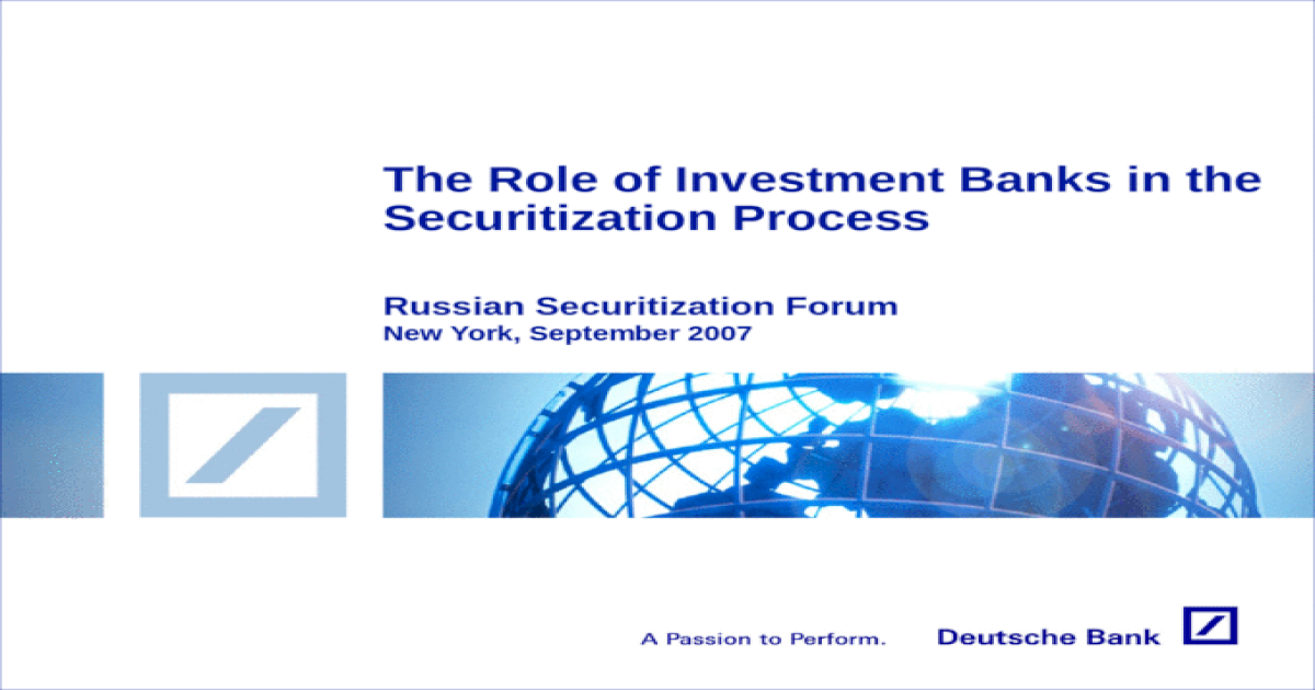 The Role of Investment Banks in the Securitization Process