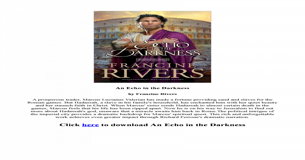 An Echo In The Darkness Francine Rivers Pdf