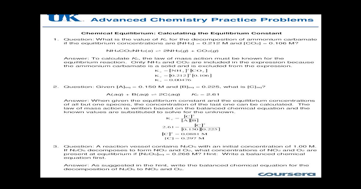Practice Solutions - 05 - Chemical Equilibrium - Calculating