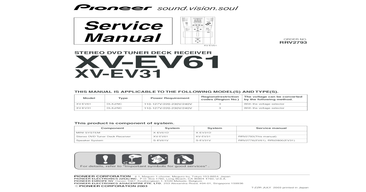 Xv-ev61 Xv-ev31 Pioneer on