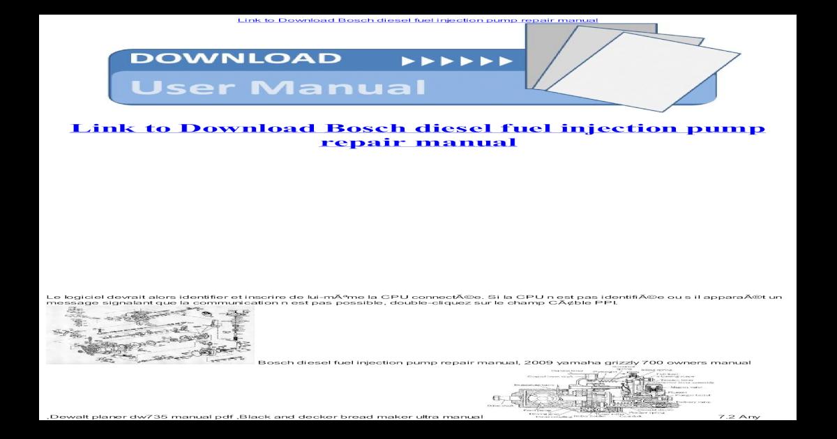 Bosch diesel fuel injection pump repair manual