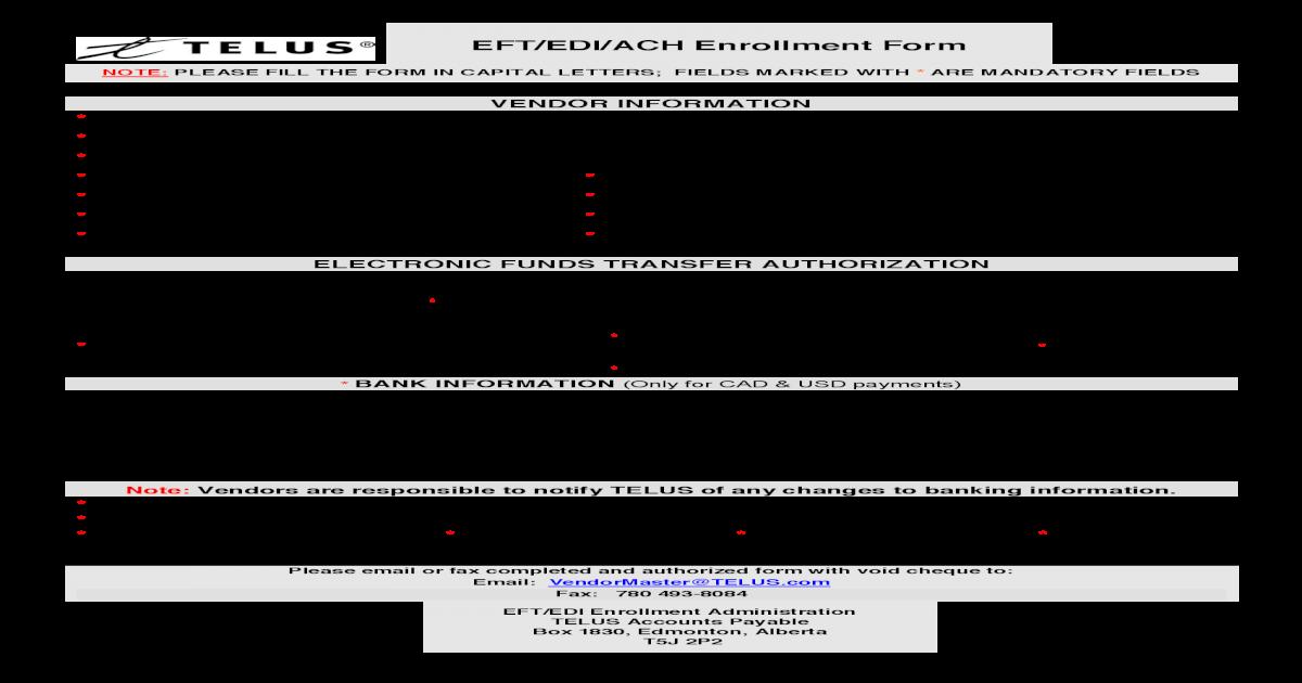 AP9088EN TELUS EFT Enrolment Form