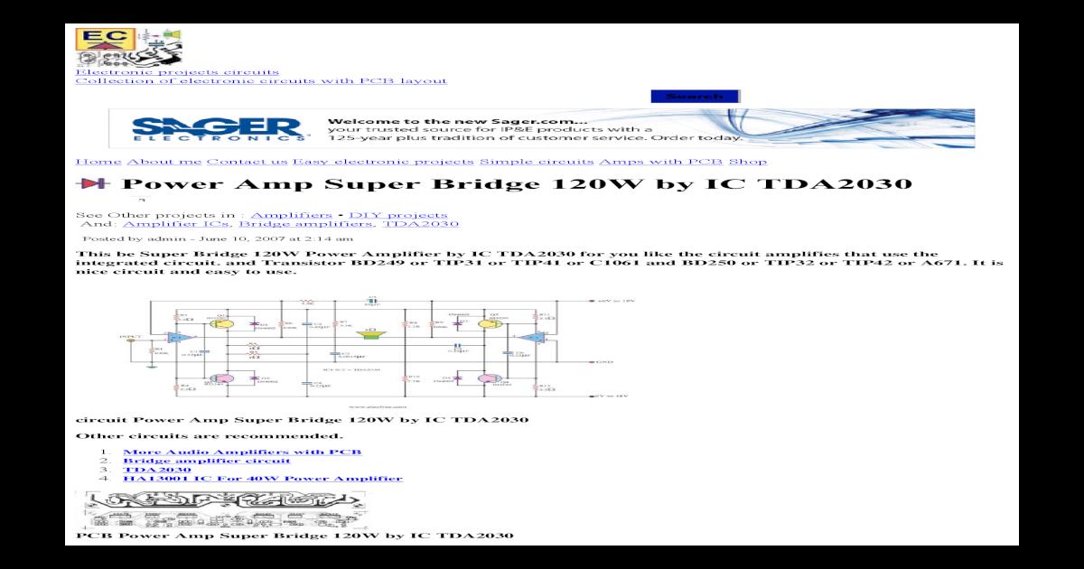 power amp super bridge 120w by ic tda2030 _ eleccircuitPower Amp Super Bridge 120w By Ic Tda2030 #7
