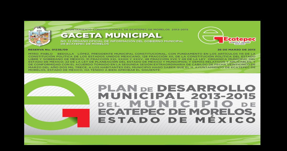 Plan De Desarrollo Municipal De Ecatepec De Morelos 2013 2015