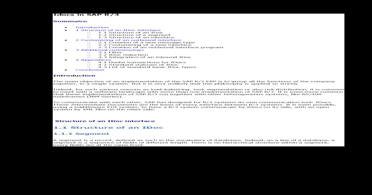 Idocs in SAP R/3