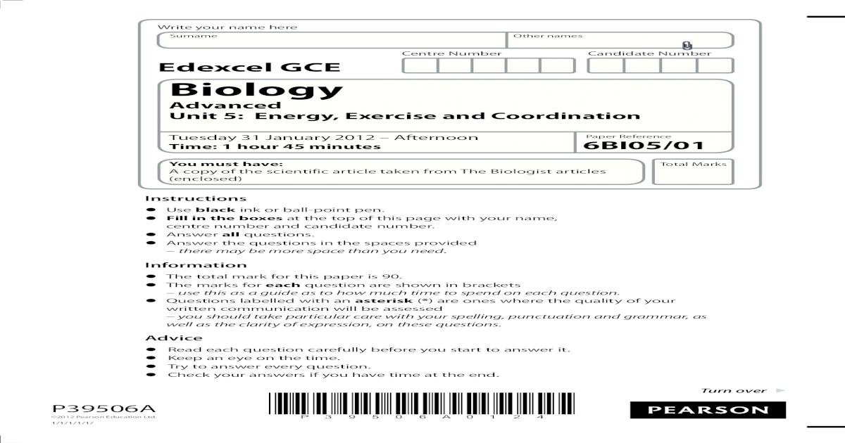 Edexcel GCE Biology Unit-5 January 2012 Question Paper