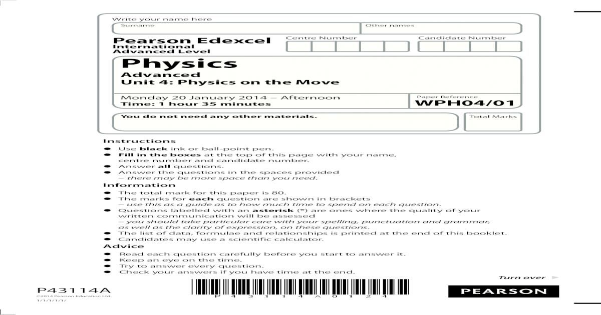Edexcel IAL Physics Unit-4 January 2014 Question Paper