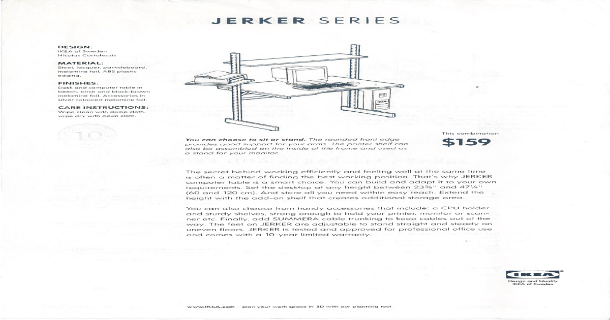 Ikea Jerker Series V2 Parts And Prices
