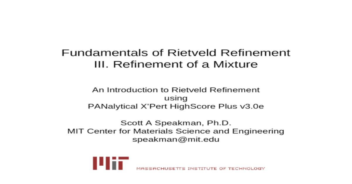 Fundamentals of Rietveld Refinement III  Refinement of a