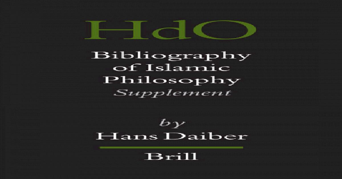 Bibliography of Islamic Philosophy- Handbook of Oriental Studies