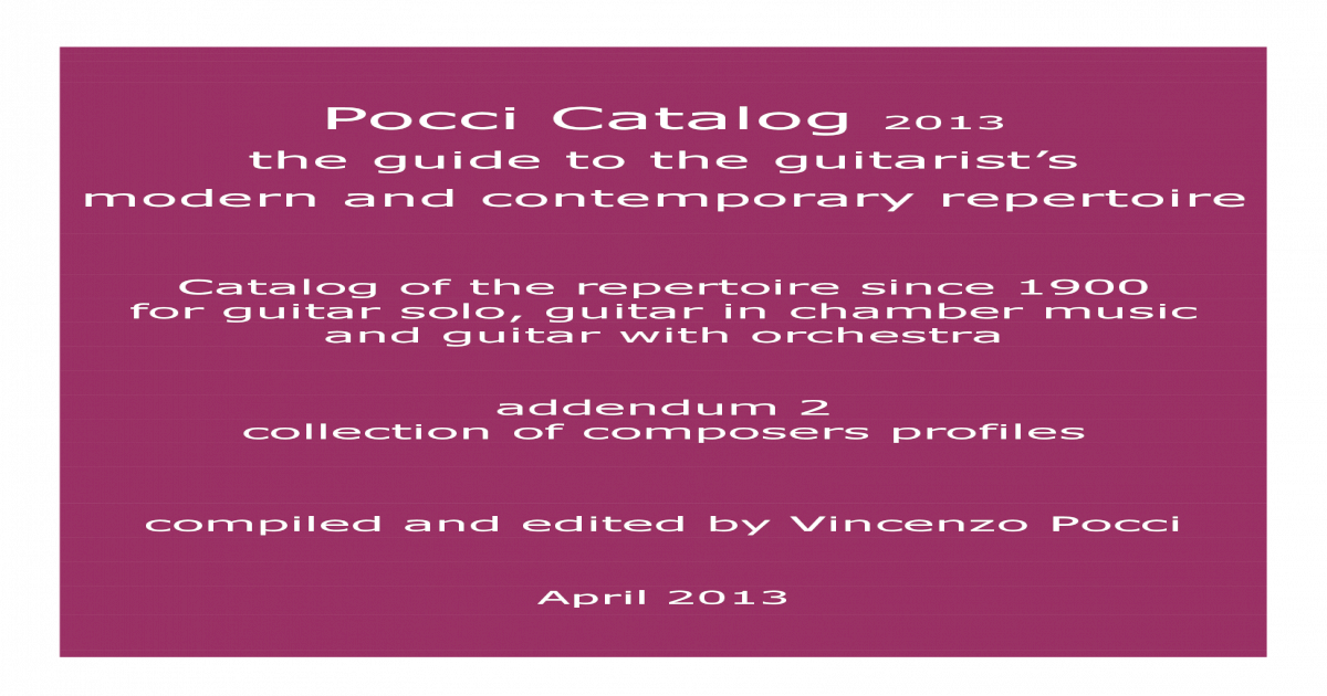 Pocci Catalog April 2013 Addendum 2 Composers Profiles