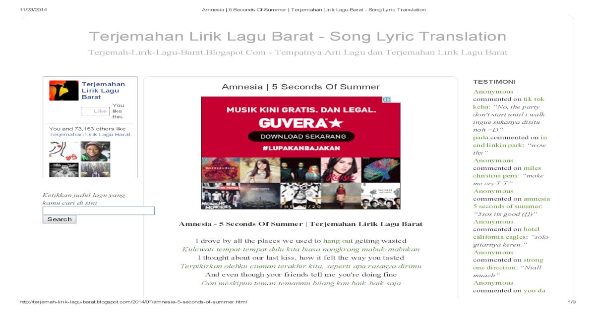 Amnesia 5 Seconds of Summer Terjemahan Lirik Lagu Barat Song