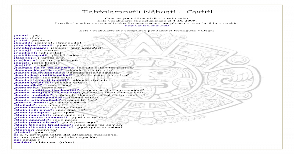 Nahuatl pdf Nahuatl Caxtitl Nahuatl Tlahtolamoxtli pdf pdf Tlahtolamoxtli Caxtitl Caxtitl Tlahtolamoxtli Nahuatl Tlahtolamoxtli Caxtitl 3cRq54ALSj