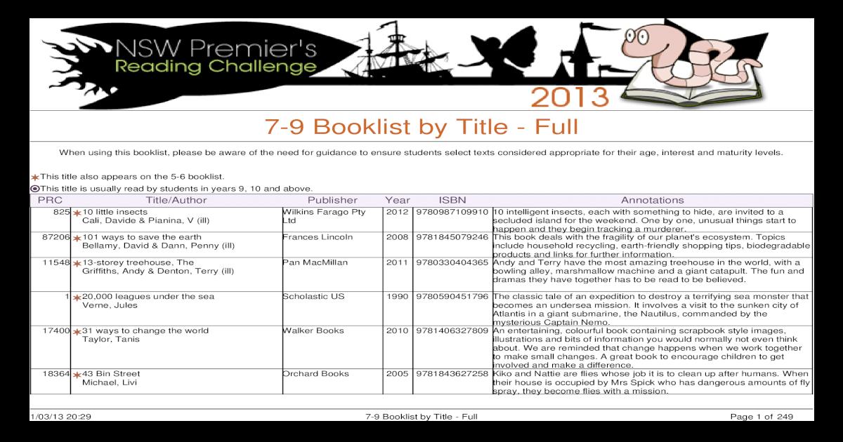 Booklist 2013 79 Title Full ade6fe97839e9