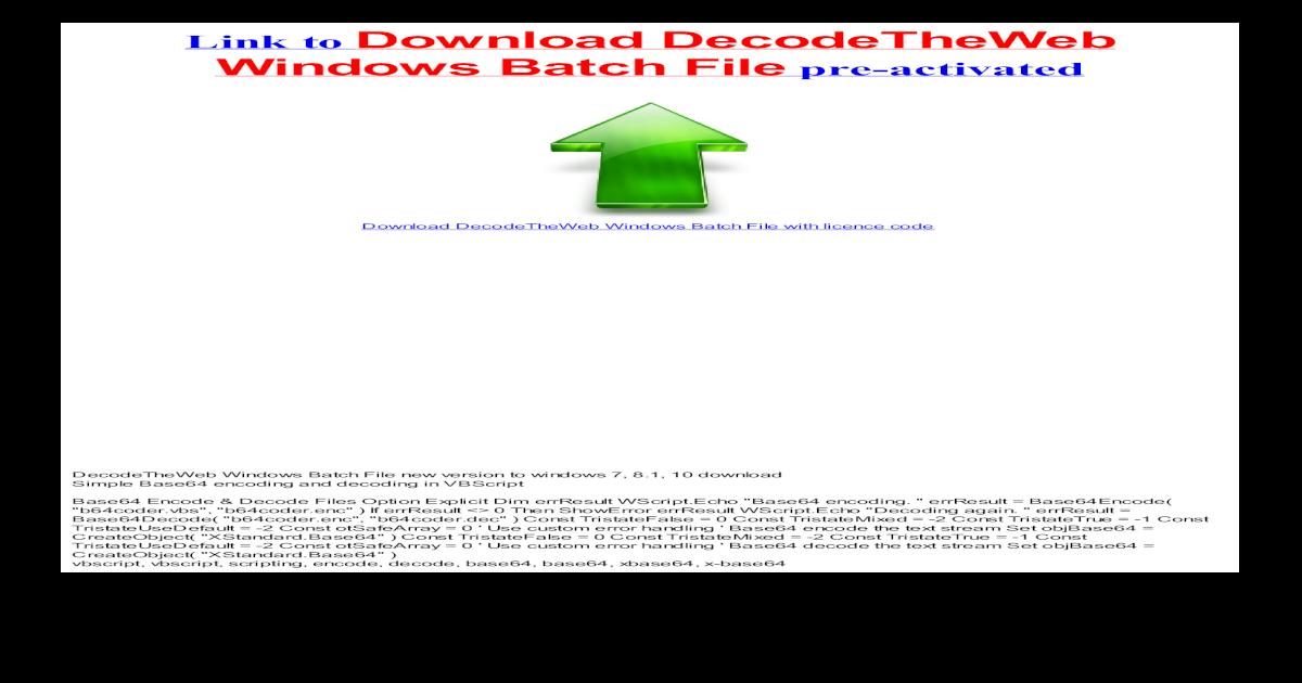 DecodeTheWeb Windows Batch File-HTML