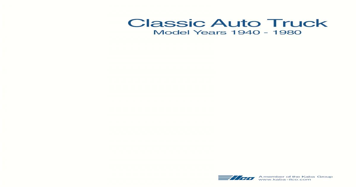 Ilco Key Ref Classicauto 1940 1980