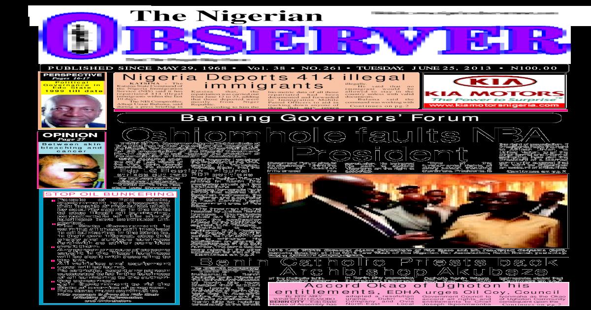 Nigerian Observer 25 06 2013