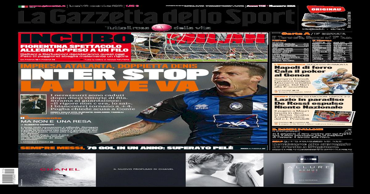 86c35b9a6a7be5 Gazzetta Dello Sport 12/11/2012